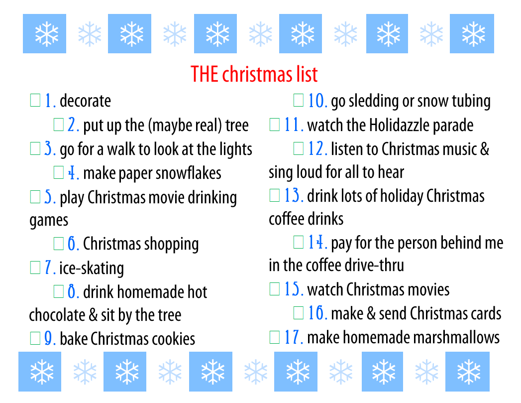 my christmas to do list::